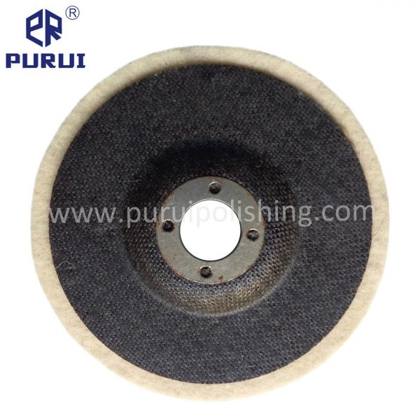 Felt polishing disc with fibreglass backing