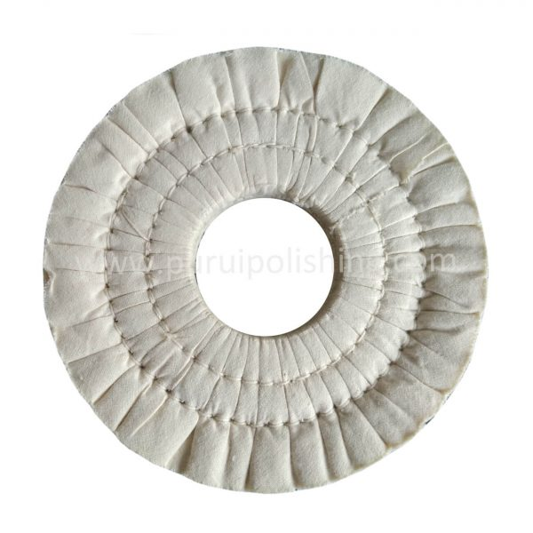Pleated white cotton buffing wheel