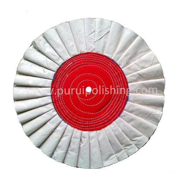 pleated airway buffing wheel with stitched center