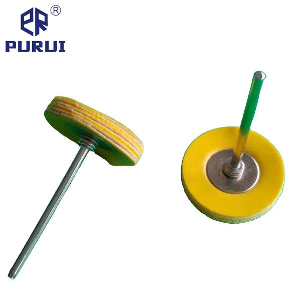 Mini Mounted Yellow Leather Wheel Brush